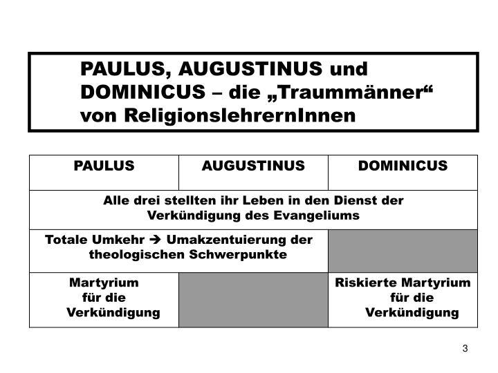 """PAULUS, AUGUSTINUS und DOMINICUS – die """"Traummänner"""""""