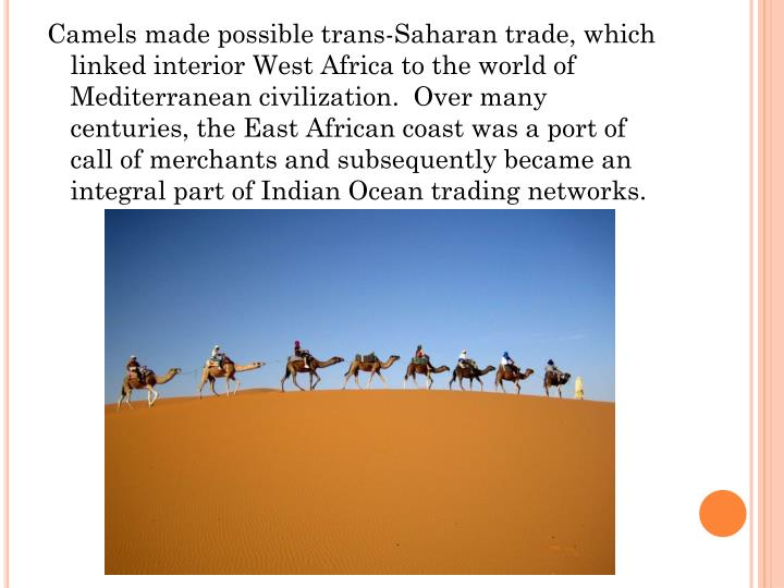 Camels made possible trans-Saharan trade, which linked interior West Africa to the world of Mediterranean civilization.  Over many centuries, the East African coast was a port of call of merchants and subsequently became an integral part of Indian Ocean trading networks.
