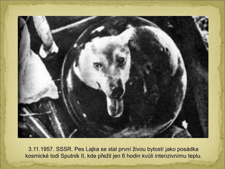 3.11.1957. SSSR. Pes Lajka se stal prvn ivou bytost jako posdka kosmick lodi Sputnik II, kde peil jen 6 hodin kvli intenzivnmu teplu.