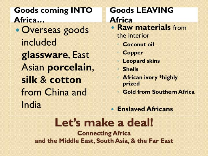 Goods coming INTO Africa…