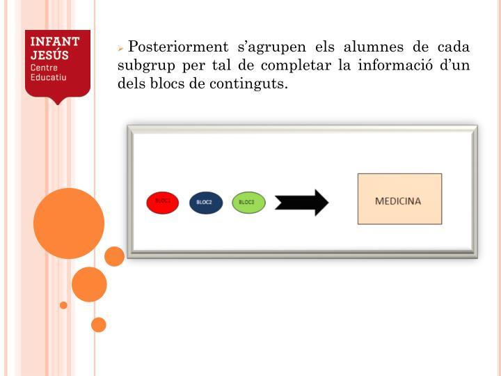Posteriorment s'agrupen els alumnes de cada subgrup per tal de completar la informació d'un dels blocs de continguts.
