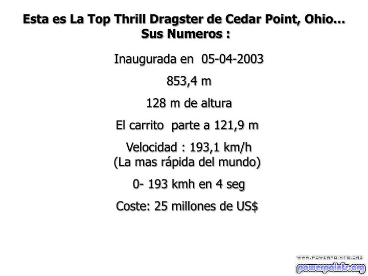 Esta es La Top Thrill Dragster de Cedar Point, Ohio…