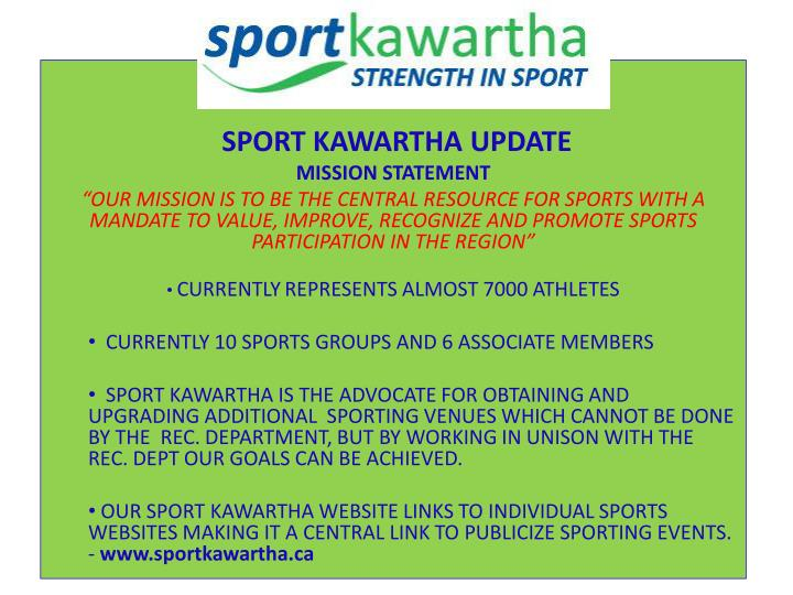 SPORT KAWARTHA UPDATE