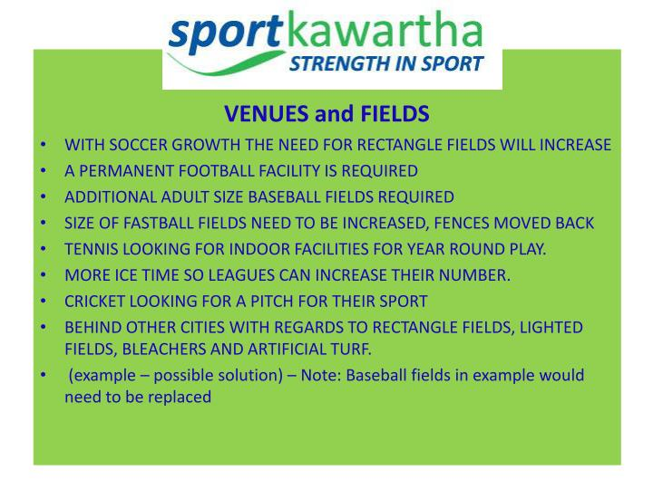 VENUES and FIELDS