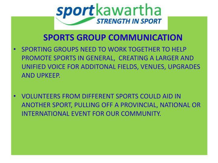 SPORTS GROUP COMMUNICATION