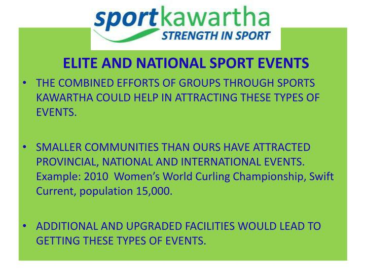 ELITE AND NATIONAL SPORT EVENTS