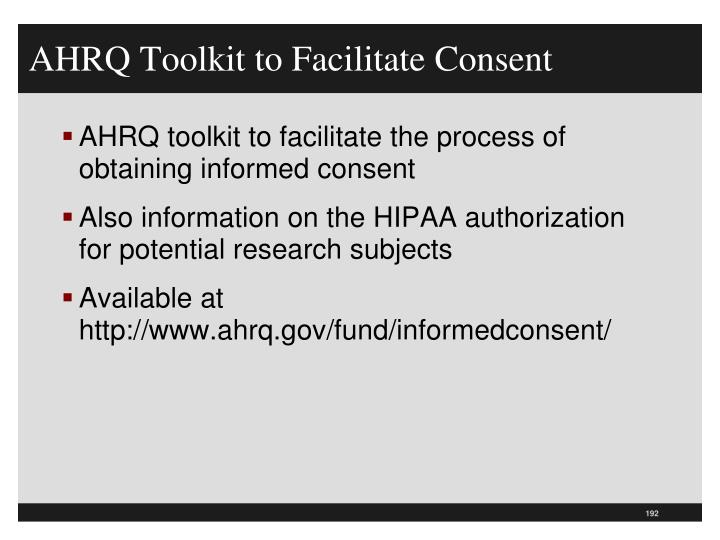 AHRQ Toolkit to Facilitate Consent