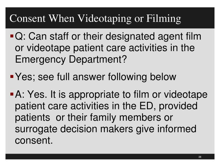 Consent When Videotaping or Filming