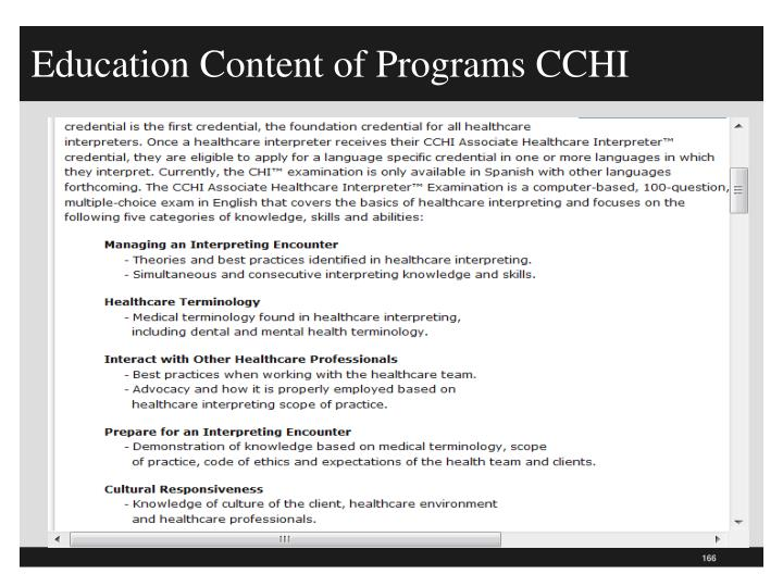Education Content of Programs CCHI