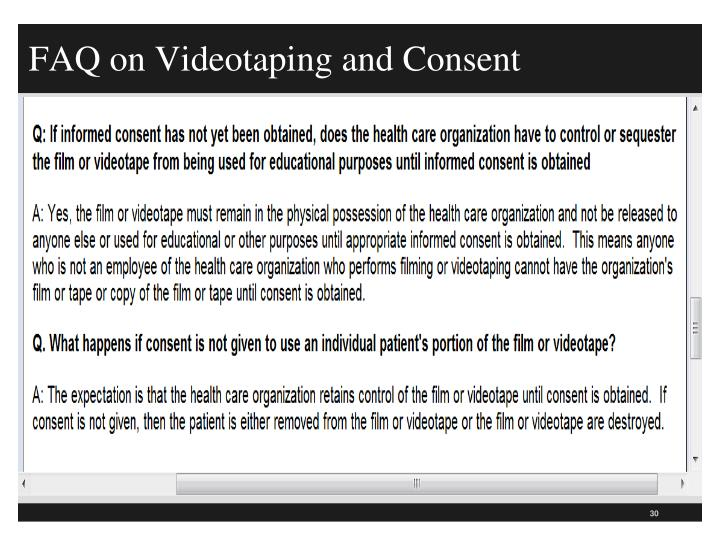 FAQ on Videotaping and Consent