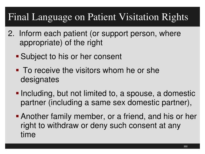 Final Language on Patient Visitation Rights
