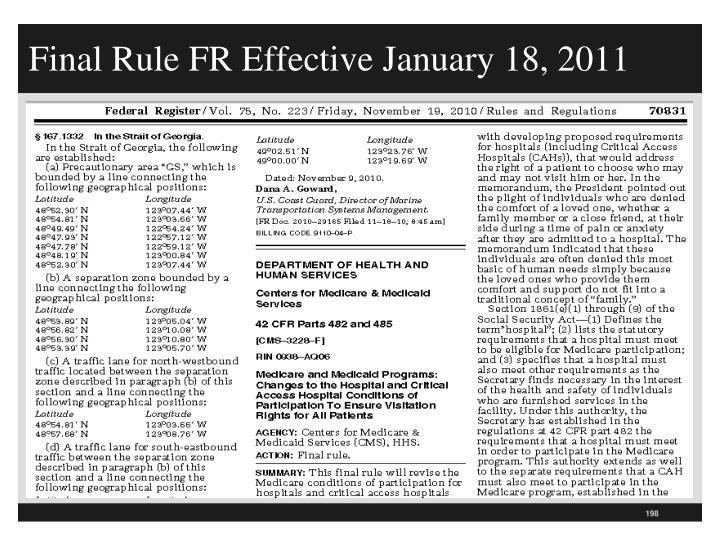 Final Rule FR Effective January 18, 2011