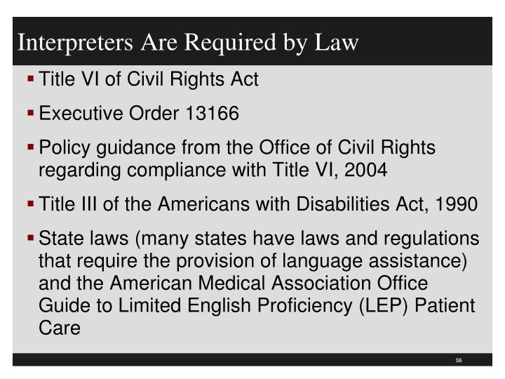 Interpreters Are Required by Law