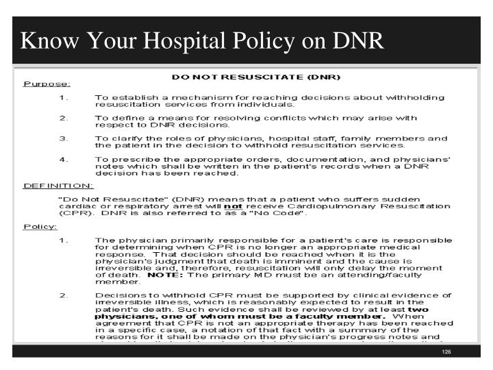 Know Your Hospital Policy on DNR