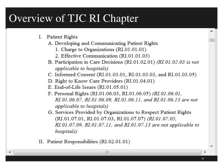 Overview of TJC RI Chapter