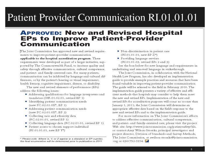 Patient Provider Communication RI.01.01.01