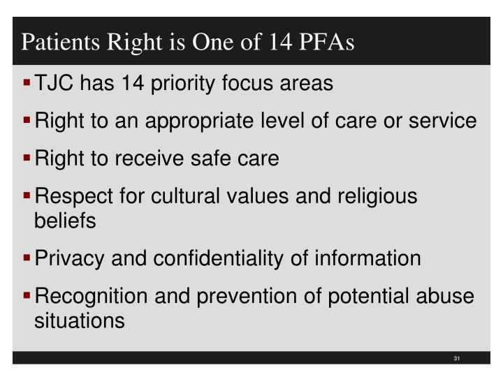 Patients Right is One of 14 PFAs