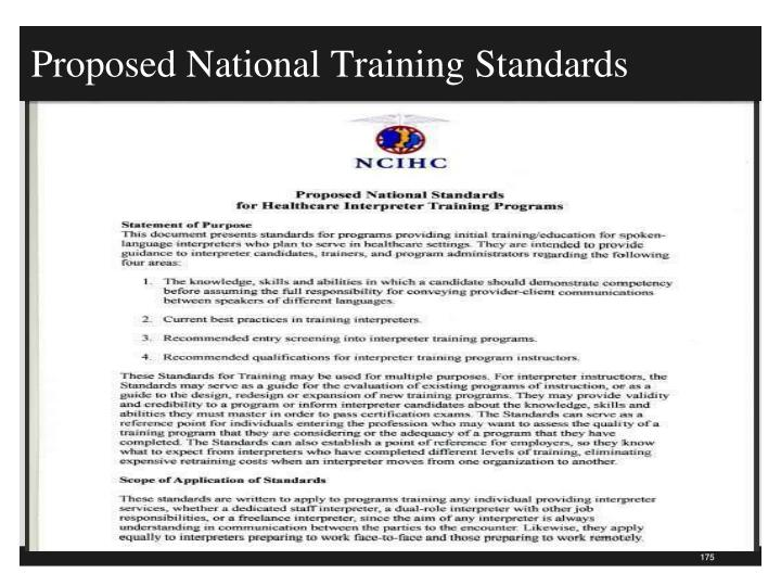 Proposed National Training Standards