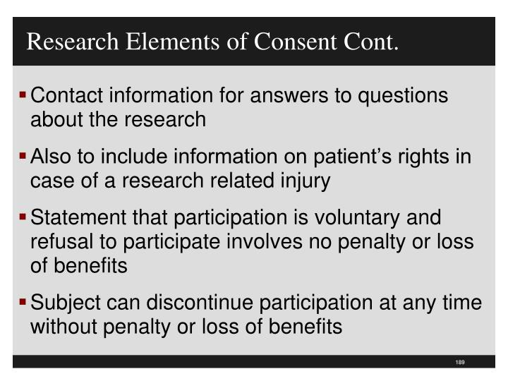 Research Elements of Consent Cont.