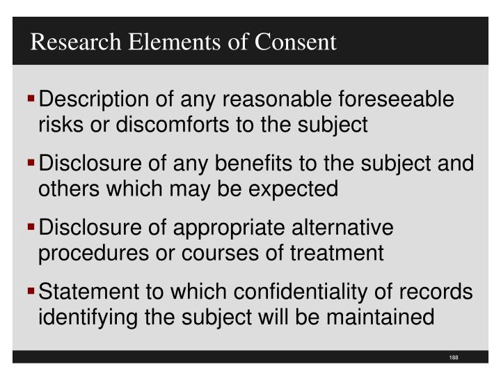 Research Elements of Consent