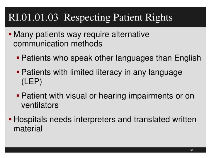 RI.01.01.03  Respecting Patient Rights