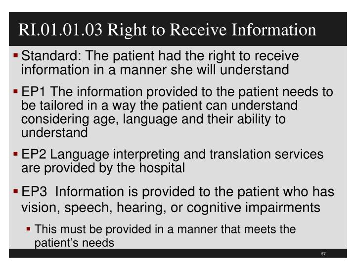 RI.01.01.03 Right to Receive Information
