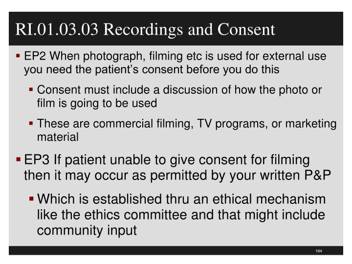 RI.01.03.03 Recordings and Consent