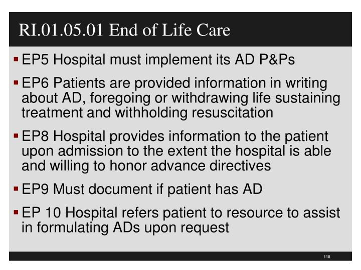 RI.01.05.01 End of Life Care
