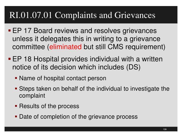 RI.01.07.01 Complaints and Grievances