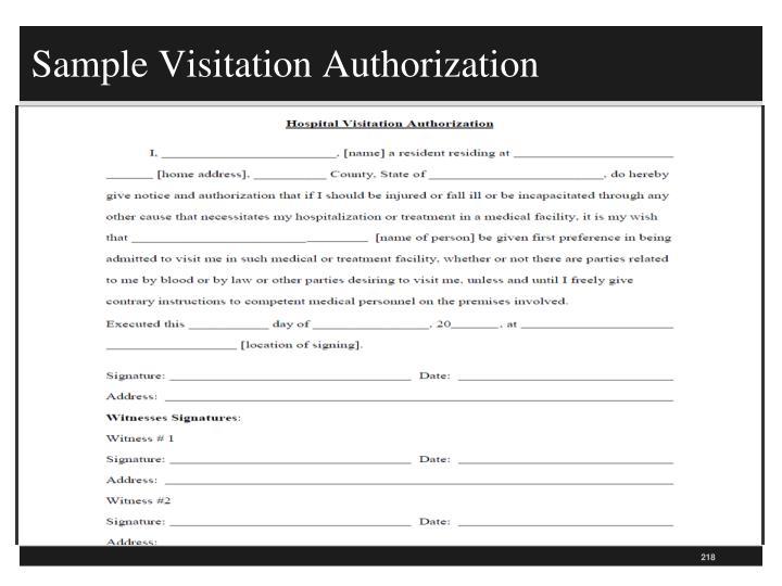 Sample Visitation Authorization