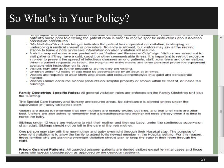 So What's in Your Policy?