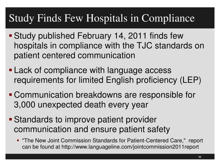 Study Finds Few Hospitals in Compliance