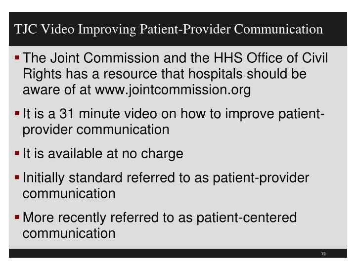 TJC Video Improving Patient-Provider Communication