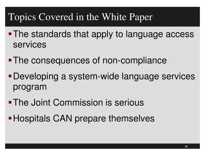 Topics Covered in the White Paper