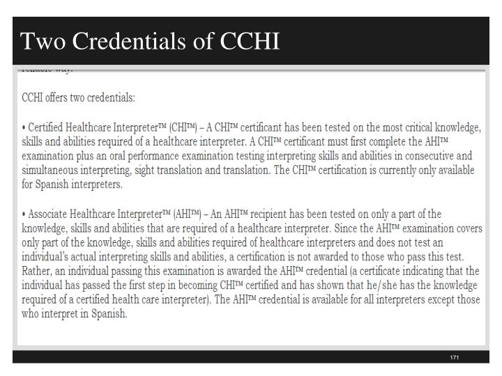 Two Credentials of CCHI