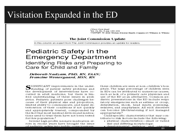 Visitation Expanded in the ED