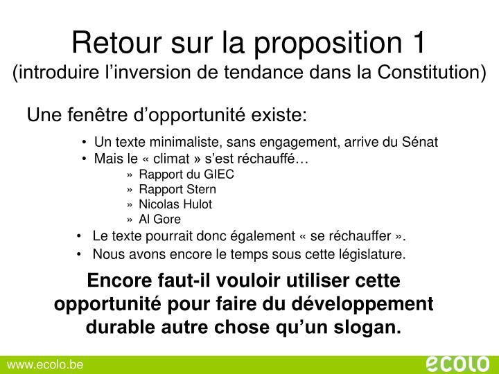 Retour sur la proposition 1