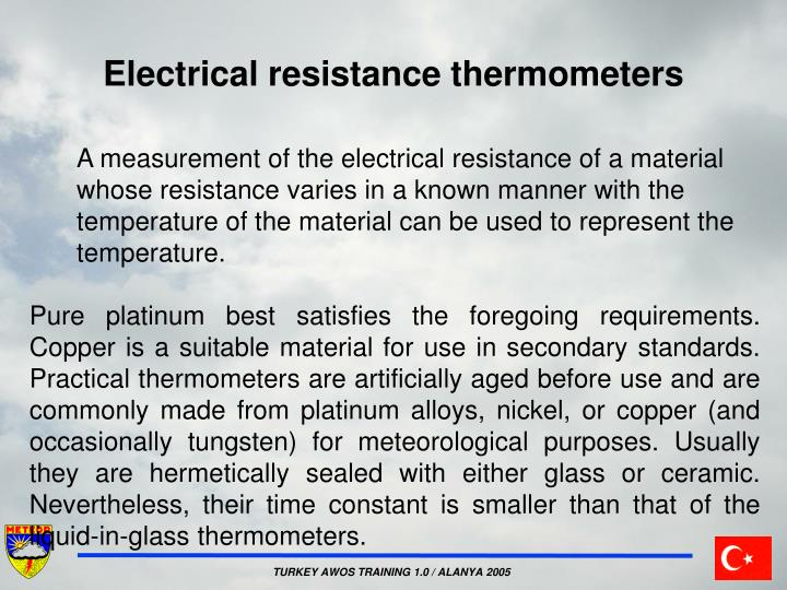 Electrical resistance thermometers