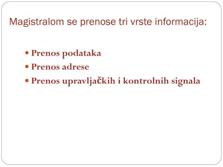 Magistralom se prenose tri vrste informacija: