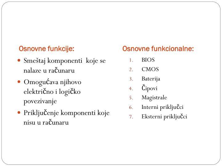 Osnovne funkcije: