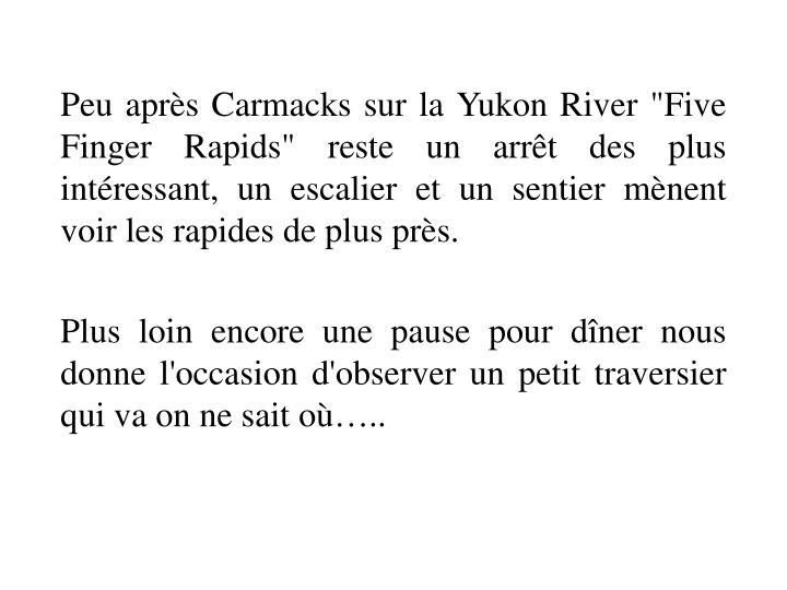 """Peu après Carmacks sur la Yukon River """"Five Finger Rapids"""" reste un arrêt des plus intéressant, un escalier et un sentier mènent voir les rapides de plus près."""