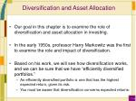 diversification and asset allocation