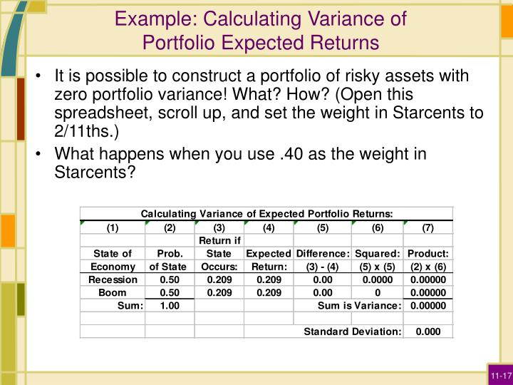 Example: Calculating Variance of