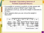 example calculating variance of portfolio expected returns