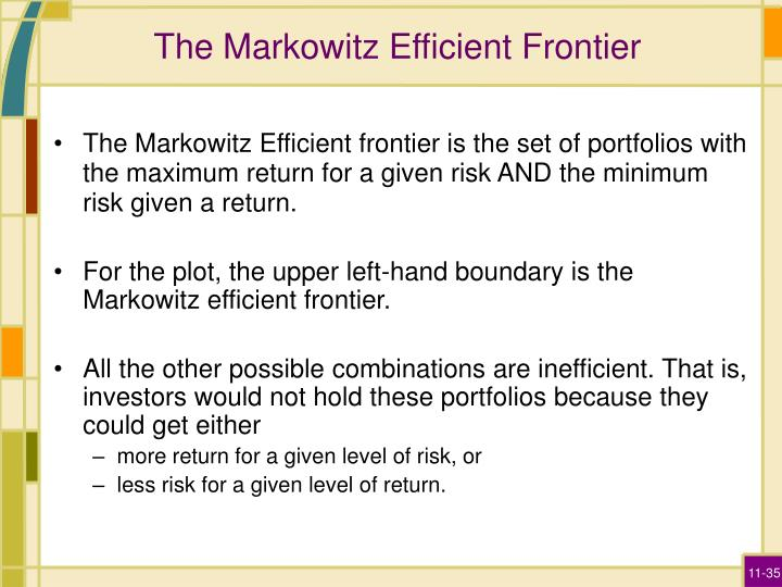 The Markowitz Efficient Frontier