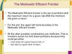 the markowitz efficient frontier