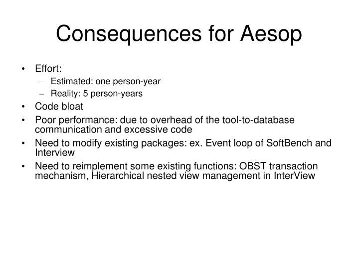 Consequences for Aesop