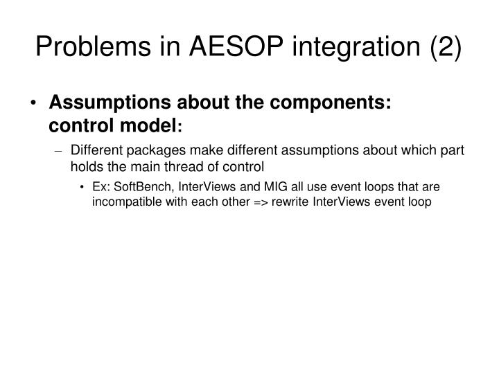 Problems in AESOP integration (2)