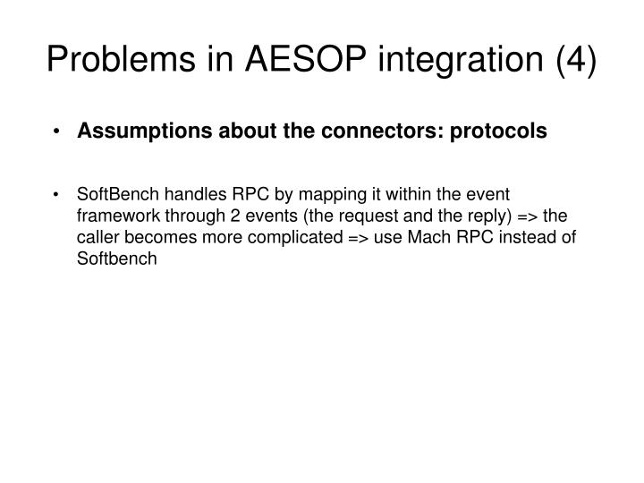 Problems in AESOP integration (4)