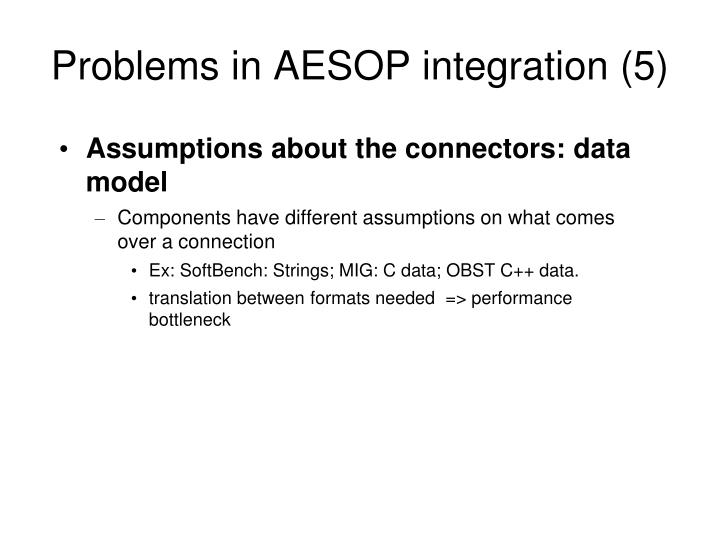 Problems in AESOP integration (5)